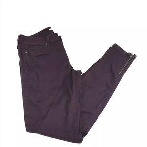 Vince Galgary Red Skinny Moto Ankle Zip Jeans 28